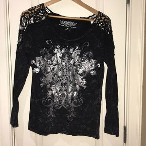 Maurices Black and silver shirt.